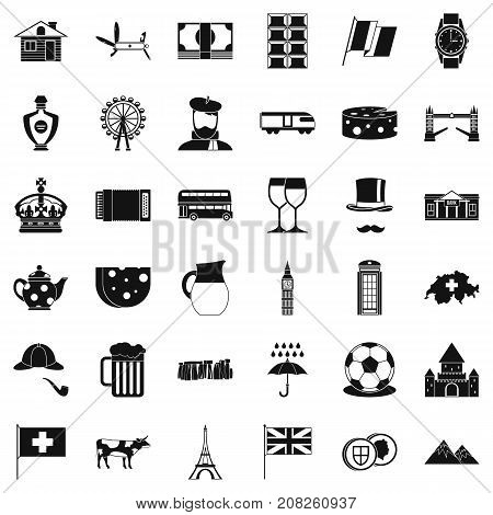 Swiss icons set. Simple style of 36 swiss vector icons for web isolated on white background