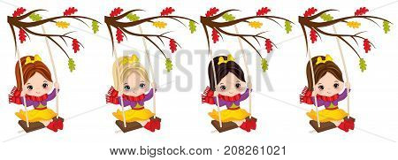 Vector cute little girls swinging on swings. Vector little girls with various hair colors. Autumn girls vector illustration
