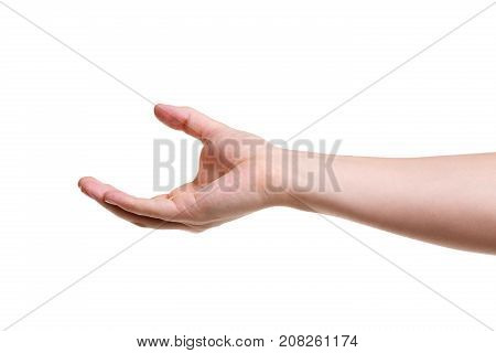 Male hand measuring invisible objects. Isolated on white background. Male palm, making a gesture, showing a small amount of something. Side view, closeup.