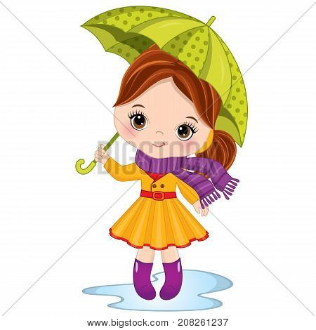 Vector cute little girl holding umbrella. Vector little girl wearing rain coat, scarf and rubber boots. Autumn girl vector illustration