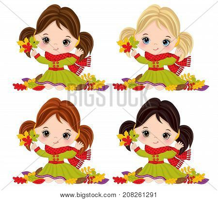 Vector cute little girls with autumn leaves. Vector little girl with various hair colors. Autumn girls vector illustration