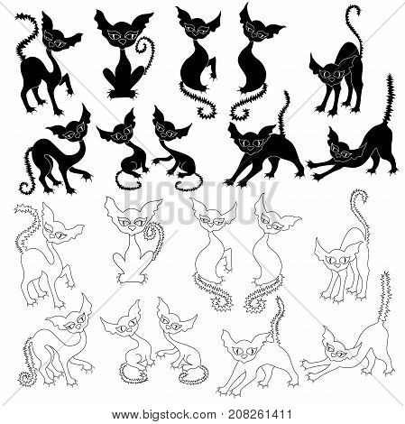 Set Of Twenty Halloween Cats