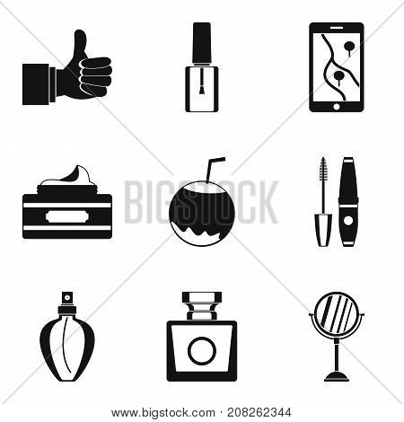 Essence icons set. Simple set of 9 essence vector icons for web isolated on white background