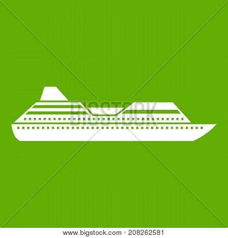 Cruise liner icon white isolated on green background. Vector illustration