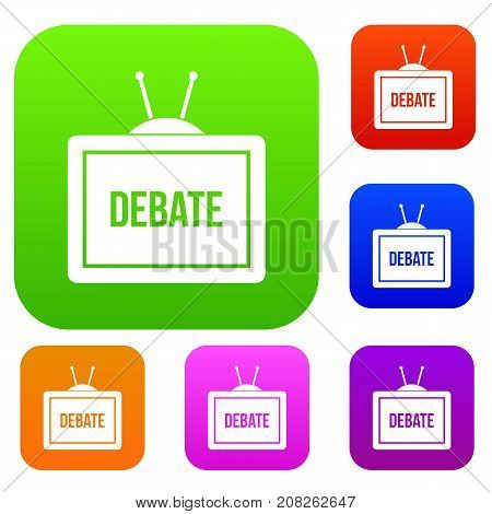 TV with the Debate inscription on the screen set icon color in flat style isolated on white. Collection sings vector illustration