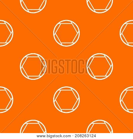 Closed objective pattern repeat seamless in orange color for any design. Vector geometric illustration