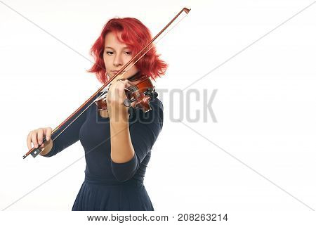 Beautiful Young Redhead Woman Playing The Violin