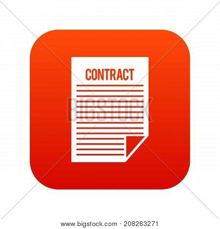 Contract icon digital red for any design isolated on white vector illustration