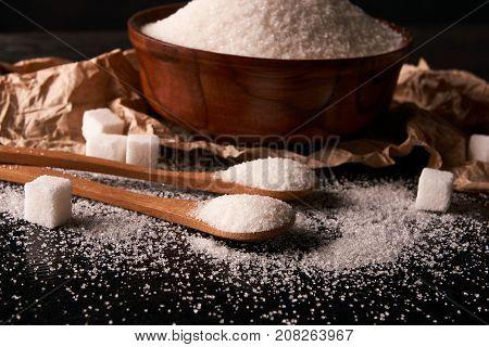 Bowl Of White Sugar And Sugar Cubes