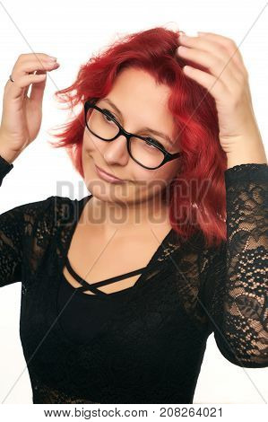 Portrait Of Beautiful Sexy Redhead Girl In Glasses