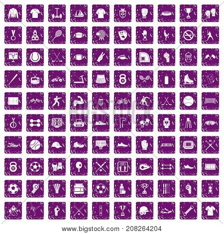 100 athlete icons set in grunge style purple color isolated on white background vector illustration