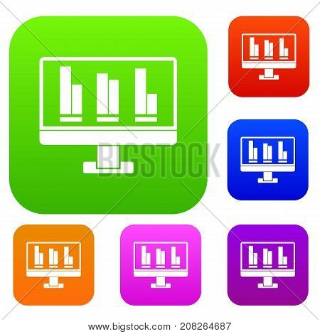 Business graph at computer screen set icon color in flat style isolated on white. Collection sings vector illustration
