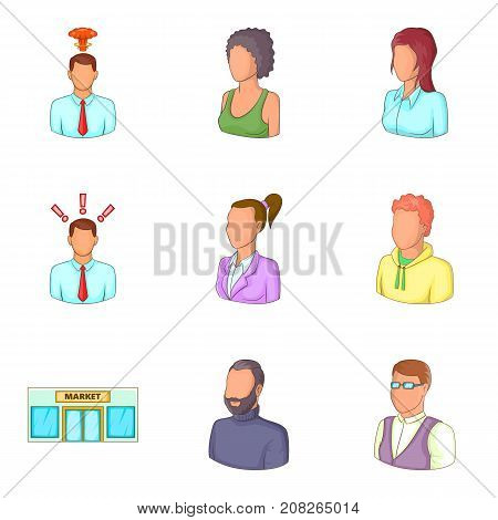 Clerk icons set. Cartoon set of 9 clerk vector icons for web isolated on white background