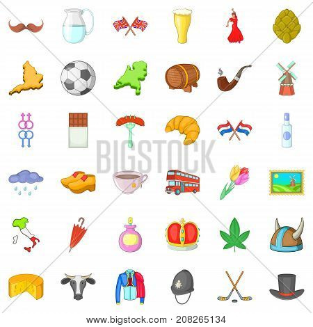 Travelling icons set. Cartoon style of 36 travelling vector icons for web isolated on white background