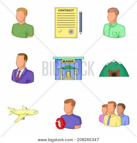 Bank clerk icons set. Cartoon set of 9 bank clerk vector icons for web isolated on white background