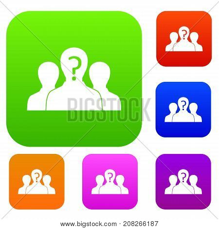 Group of people with unknown personality set icon color in flat style isolated on white. Collection sings vector illustration