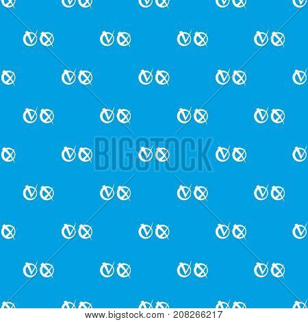 Tick and cross in circles pattern repeat seamless in blue color for any design. Vector geometric illustration