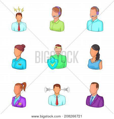 Workaholic icons set. Cartoon set of 9 workaholic vector icons for web isolated on white background
