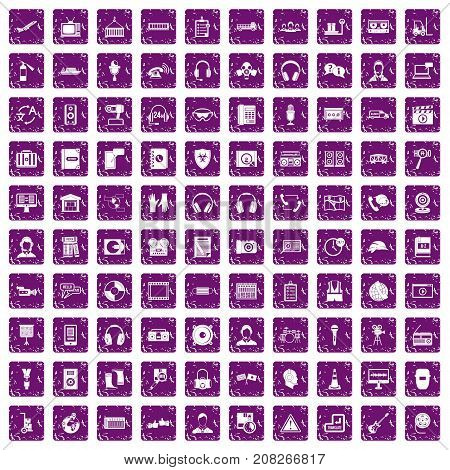 100 headphones icons set in grunge style purple color isolated on white background vector illustration