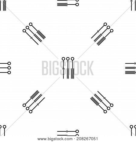 Tattoo needles pattern repeat seamless in black color for any design. Vector geometric illustration