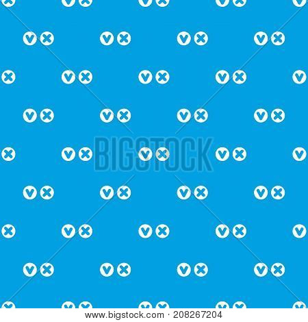 Fat tick and cross in circles pattern repeat seamless in blue color for any design. Vector geometric illustration