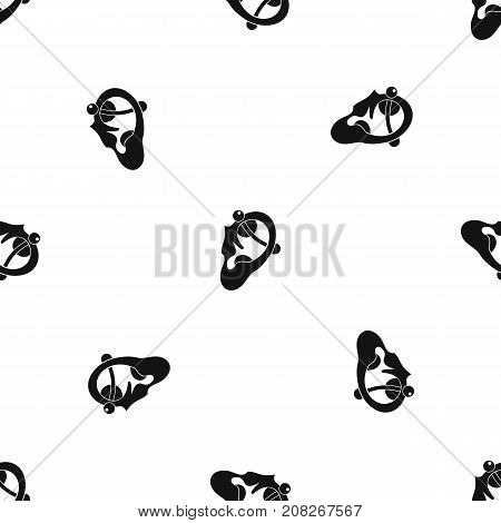 Human ear with piercing pattern repeat seamless in black color for any design. Vector geometric illustration