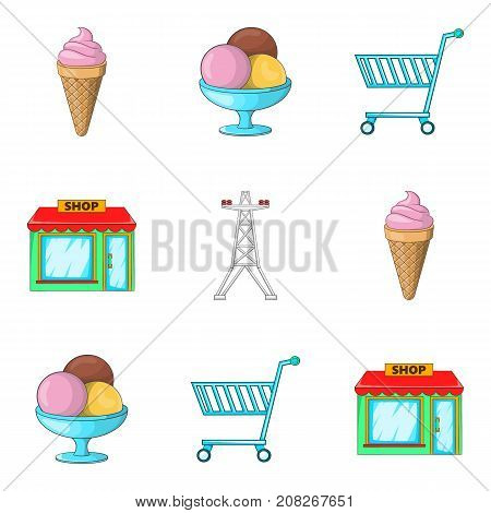 Hot day icons set. Cartoon set of 9 hot day vector icons for web isolated on white background