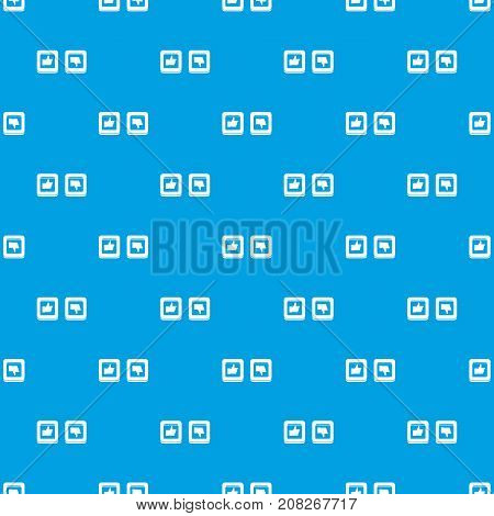 Signs hand up and down in squares pattern repeat seamless in blue color for any design. Vector geometric illustration