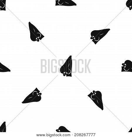 Human nose with piercing pattern repeat seamless in black color for any design. Vector geometric illustration