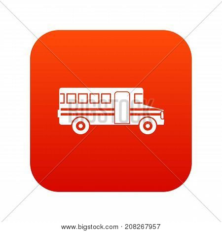 School bus icon digital red for any design isolated on white vector illustration
