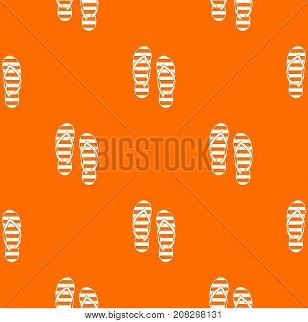 Flip flop pattern repeat seamless in orange color for any design. Vector geometric illustration