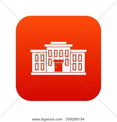 School building icon digital red for any design isolated on white vector illustration