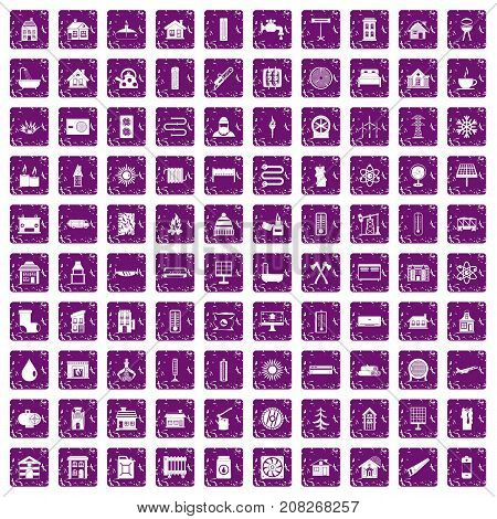 100 heating icons set in grunge style purple color isolated on white background vector illustration