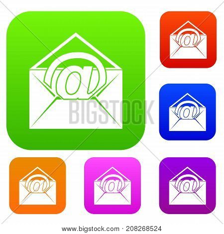 Envelope with email sign set icon color in flat style isolated on white. Collection sings vector illustration