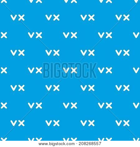 Fat tick and cross pattern repeat seamless in blue color for any design. Vector geometric illustration