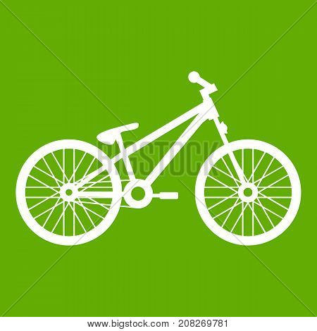 Bike icon white isolated on green background. Vector illustration