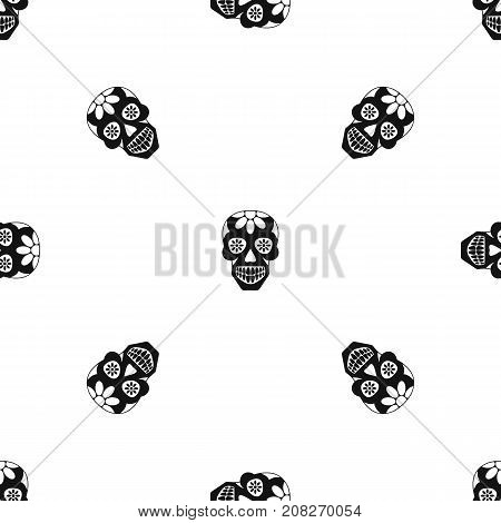 Sugar skull, flowers on the skull pattern repeat seamless in black color for any design. Vector geometric illustration