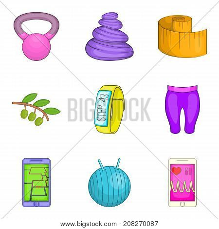 Natural supplement icons set. Cartoon set of 9 natural supplement vector icons for web isolated on white background