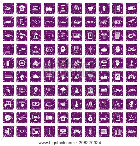 100 hi-tech icons set in grunge style purple color isolated on white background vector illustration