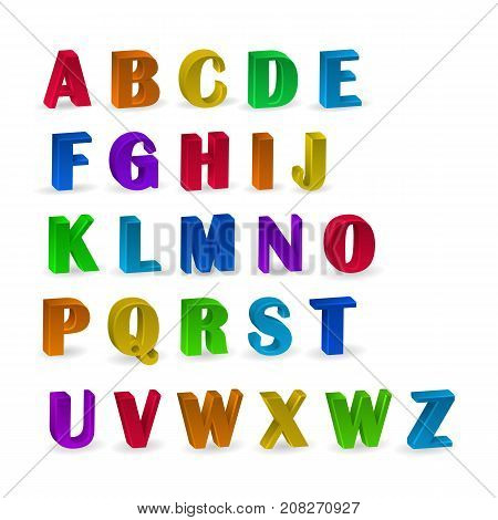 set of colorful alphabets with numerals, 3d alphabet numerals for your advertising and web design. Vector eps 10