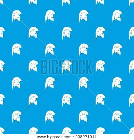 Roman helmet pattern repeat seamless in blue color for any design. Vector geometric illustration