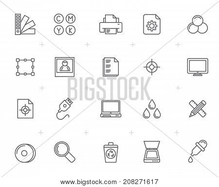 Line Print industry icons  - vector icon set