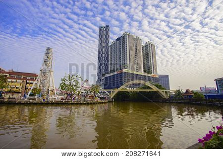 Malacca, Malaysia - September 24, 2017 : View From Malacca River Near The Shore Hotel And Residences