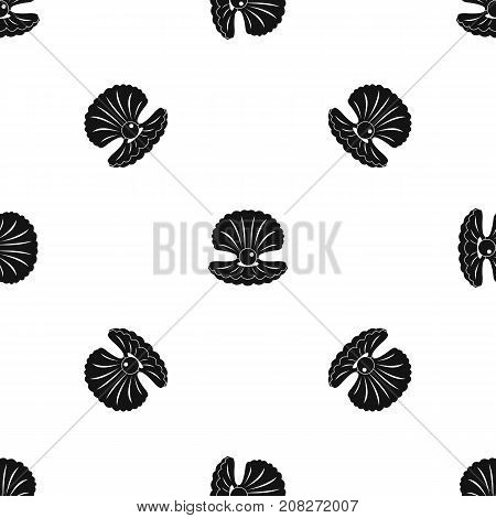 Pearl in a shell pattern repeat seamless in black color for any design. Vector geometric illustration