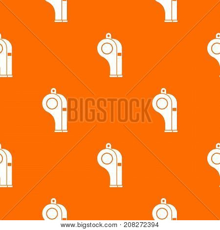 Whistle pattern repeat seamless in orange color for any design. Vector geometric illustration