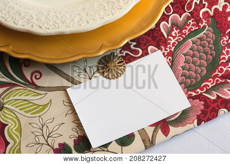 Thanksgiving Place Cards With Editable Type, On Tablecloth With Flowers And Gold Plate