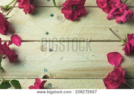 Frame of red roses on wooden background