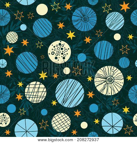 Vector winter holiday blue, beige, yellow abstract bubbles and stars seamless repeat pattern background. Great for holiday fabric, packaging, wallpaper, gift wrap projects. Surface pattern design.