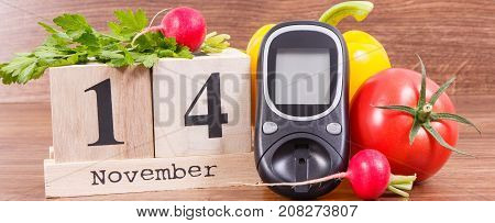 Date 14 November, Glucometer For Checking Sugar Level And Vegetables, World Diabetes Day And Fightin