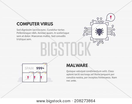 Computer virus and Malware. Cyber security concept. Vector thin line illustration design.